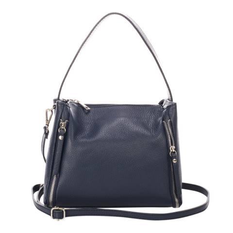 Giulia Massari Navy Leather Shoulder Bag