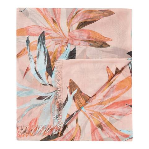 Pure Collection Peach Floral Ultra Soft Printed Scarf