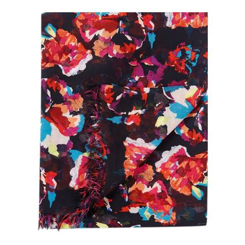 Pure Collection Dark Floral Ultra Soft Printed Scarf