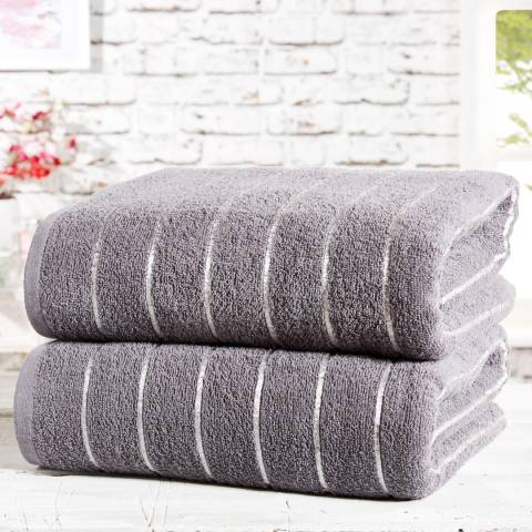 Rapport Sandringham Pair of Bath Sheets, Charcoal/Silver