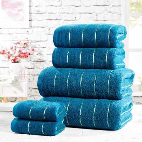 Rapport Sandringham Set of 6 Towels, Teal/Gold