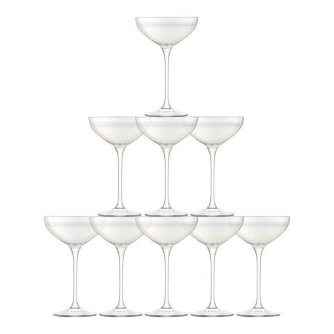 LSA Set of 10 Tower Mother of Pearl Champagne Glasses, 235ml