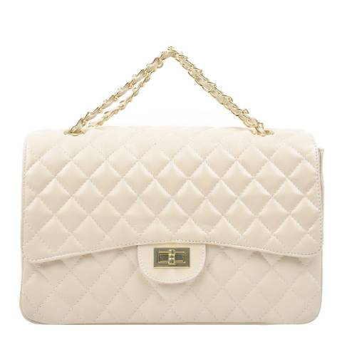 Carla Ferreri Beige Quilted Leather Shoulder Bag
