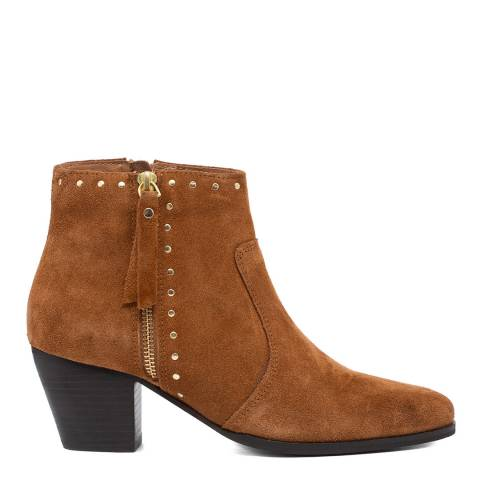 Carvela Tan Stockman Stud Detail Western Ankle Boots