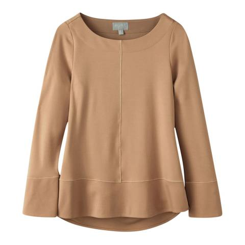 Pure Collection Camel Boat Neck Ponte Top