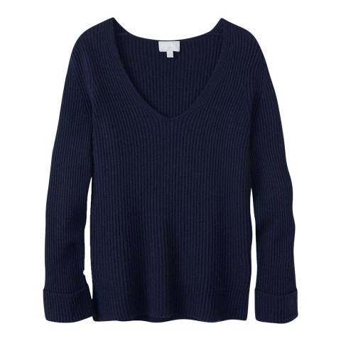 Pure Collection Navy V Neck Tunic Jumper