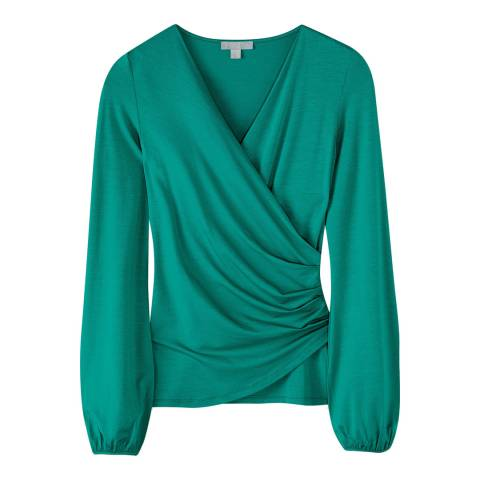 Pure Collection Turquoise Gathered Cuff Wrap Top