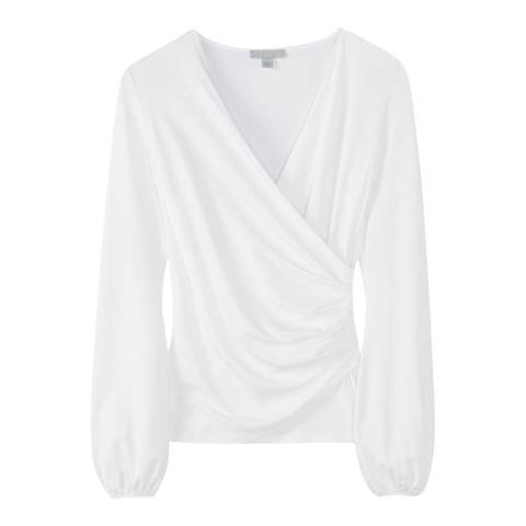 Pure Collection White Gathered Cuff Wrap Top