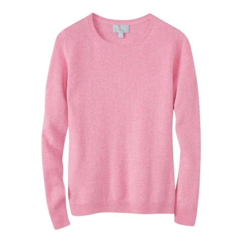 Pure Collection Pink Cashmere Slim Fit Crew Neck Jumper