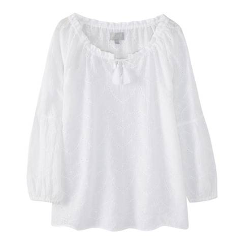 Pure Collection White Tie Neck Blouse