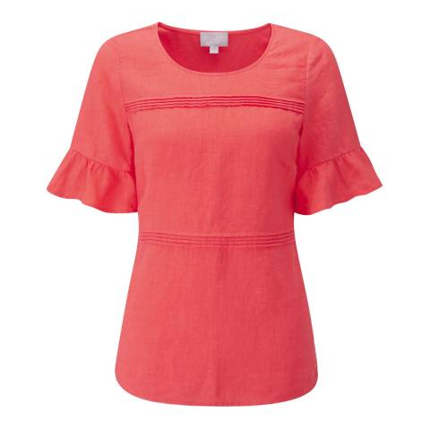 Pure Collection Red Laundered Linen Ruffle Sleeve Top