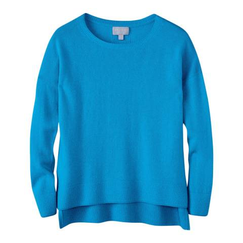 Pure Collection Blue Relaxed Cashmere & Wool Blend Jumper