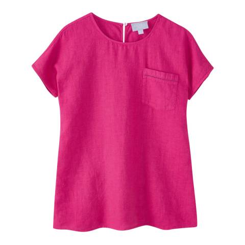 Pure Collection Pink Laundered Linen Top