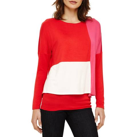 Phase Eight Red/Multi Cacey Colourblock Top