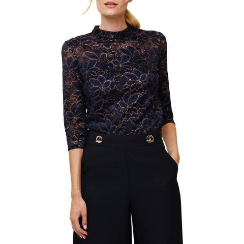 Phase Eight Navy/Bronze Lulu Lace Top