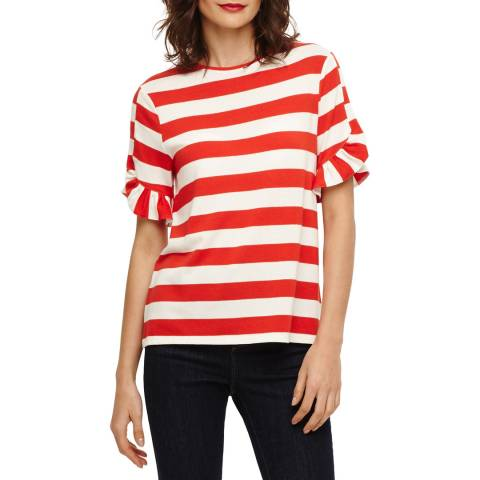 Phase Eight Red/Ivory Solange Stripe Top