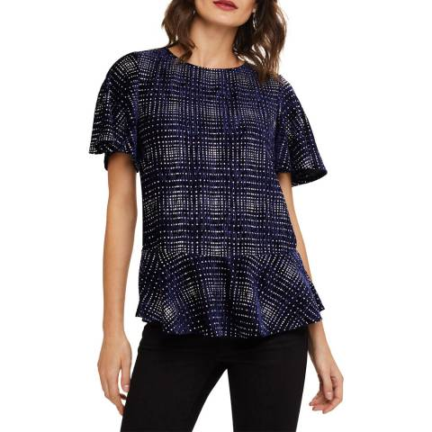 Phase Eight Navy/Silver Cailee Velvet Top