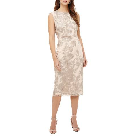 Phase Eight Latte Rhea Lace Floral Dress
