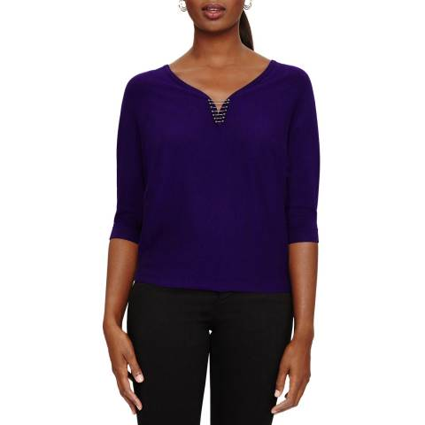 Phase Eight Cristine Metal Knit Deep Purple