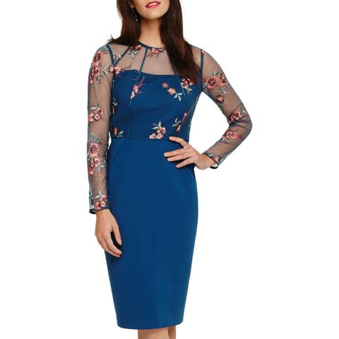 Phase Eight Blue Felice Embroidered Dress