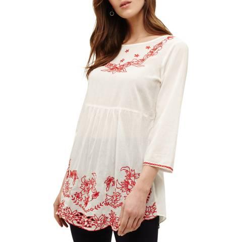Phase Eight White Cotton Nigella Embroidered Blouse