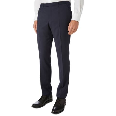 BOSS Navy Textured Lenon Classic Fit Trousers