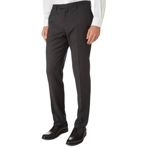 BOSS Grey Textured Lenon Classic Fit Trouser