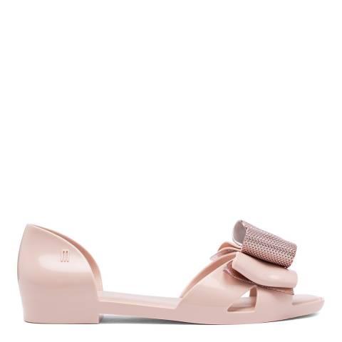 Melissa Pink Seduction Metallic Bow Flat Sandals