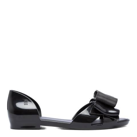 Melissa Black Seduction Metallic Bow Flat Sandals
