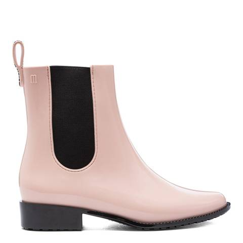 Melissa Blush Contrast Gloss Riding Low Chelsea Boots