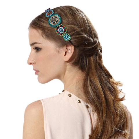 Chloe Collection by Liv Oliver Multi Turquoise Boho Hair Band