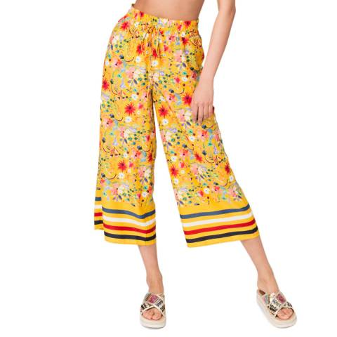 Pia Rossini Yellow Printed Saffron Culottes