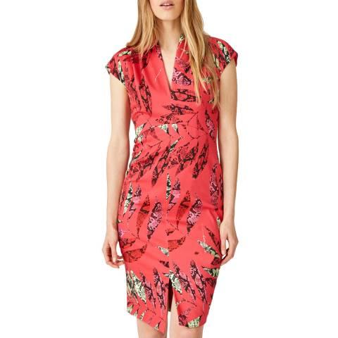 Damsel In A Dress Coral Bria Palm Print Dress