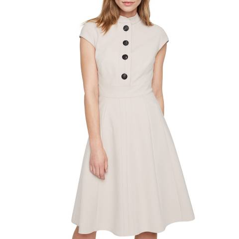 Damsel In A Dress Beige Kat Button Dress