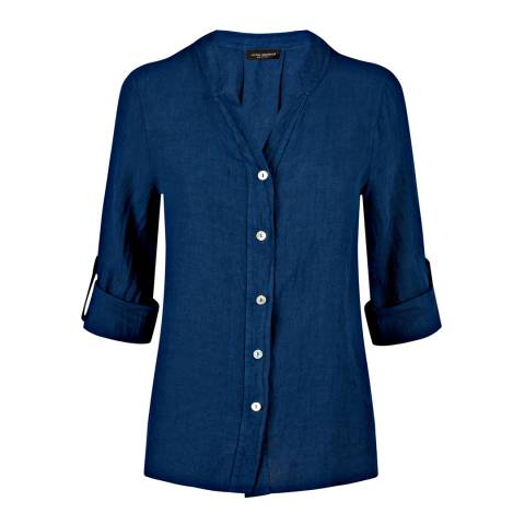 James Lakeland Navy Collarless Linen Shirt