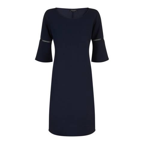 James Lakeland Navy Anita Pleat Sleeve Dress