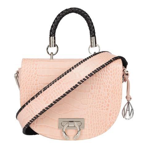 Amanda Wakeley Blush Croc Niven Braided Handle Leather Bag