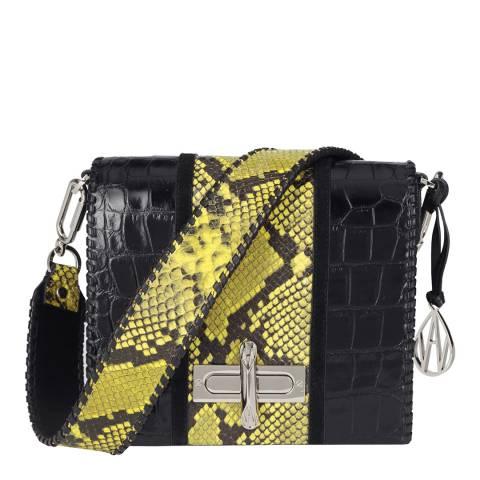 Amanda Wakeley Black Croc/Acid Python Stripe Costello Leather Bag