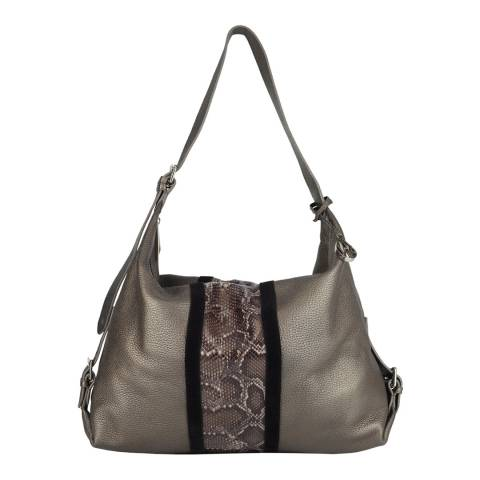 Amanda Wakeley Bronze/Taupe Python Stripe Costner Leather Bag