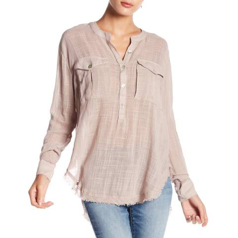 Free People Warm Grey Talk To Me Blouse