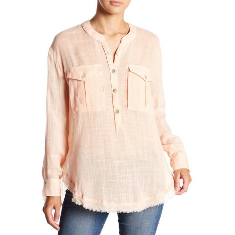 Free People Orange Talk To Me Blouse