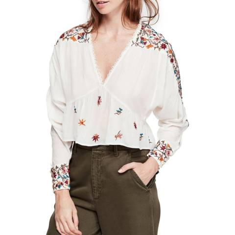 Free People Cream Ava Embroidery Blouse