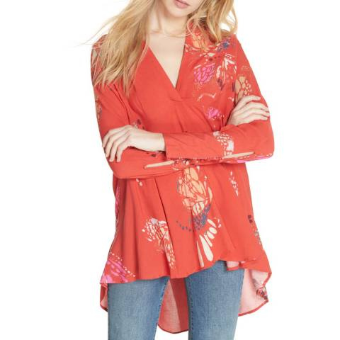 Free People Red Field Of Butterflies Tunic