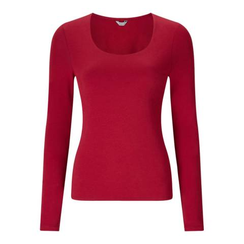 Jigsaw Red Scoop Long Sleeve Top