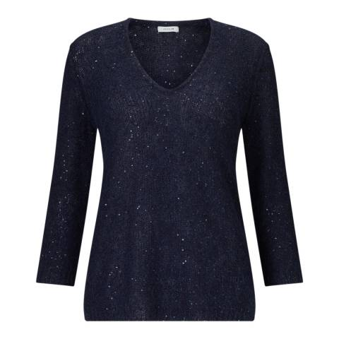 Jigsaw Navy Sparkle V Neck Jumper
