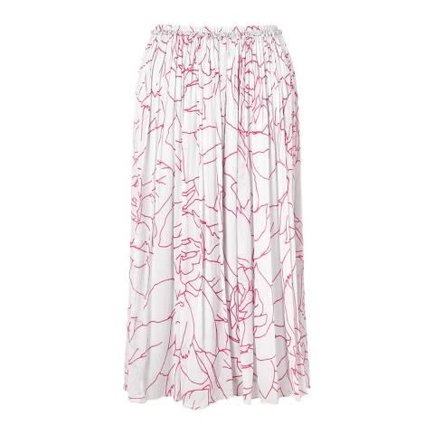 Jigsaw Light Pink Floral Crinkle Skirt