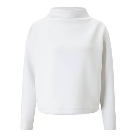 Jigsaw White Funnel Neck Sweat