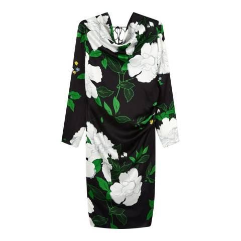 Jigsaw Hibiscus Print Silk Dress