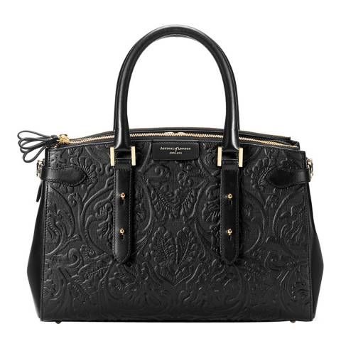 Aspinal of London Black Flower Embossed Brook Street Bag