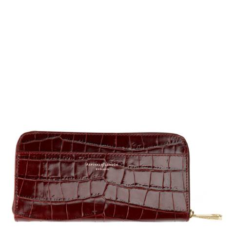 Aspinal of London Amazon Brown Croc Continental Clutch Puse